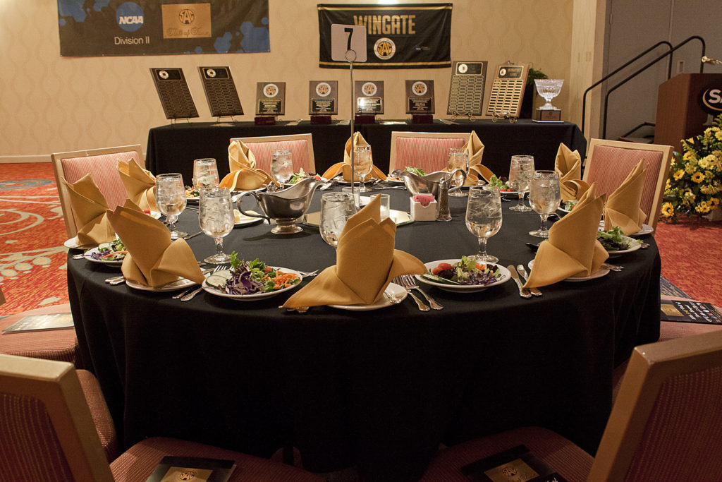 Photo of a table set for the Hall of Fame banquet.