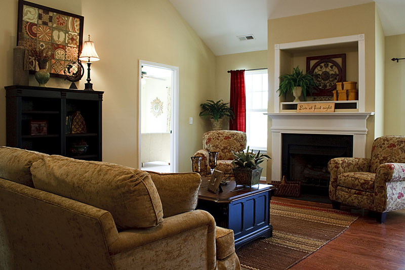 Photo looking over a couch toward an armchair and fireplace