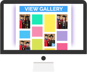 Graphic of computer screen with gallery of images, and wording VIEW GALLERY at the top.